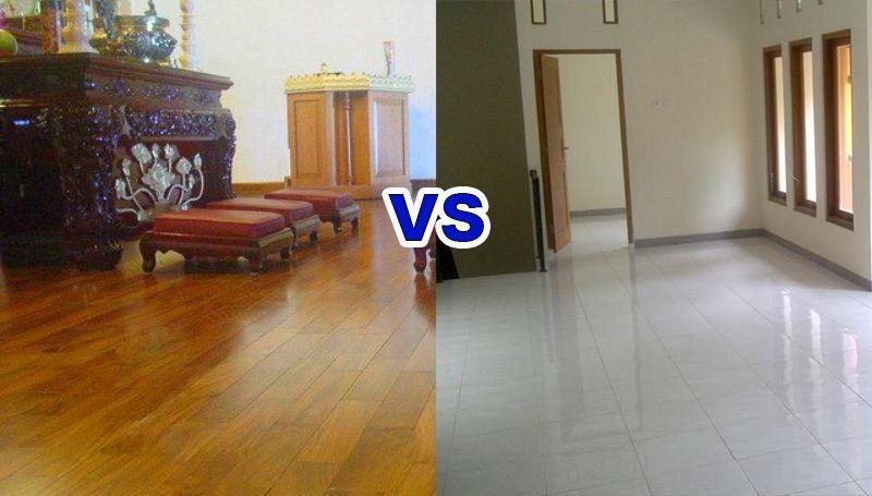perbandingan lantai kayu dan lantai keramik